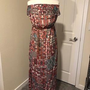 Strapless Belted Sheer Dress